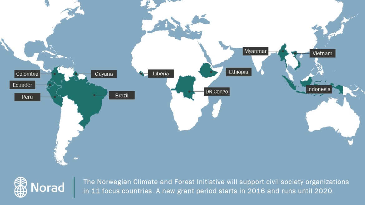 Map that shows 11 focus countries for support to civil society through NICFI 2016-2020